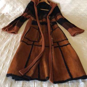 Vintage suede knit women coat long Medium